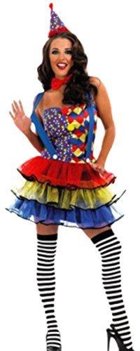 Faschingsfete Damen Buntes Clown Überraschungsparty Kostüm, M, Mehrfarbig