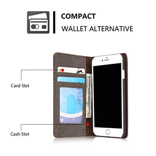 YHUISEN iPhone 7/iPhone 8 Fall, [Denim Series Wallet Case] Premium Canvas Denim Flip Folio Schutzhülle mit Stand für iPhone 7/ iPhone 8 ( Color : Brown ) Black