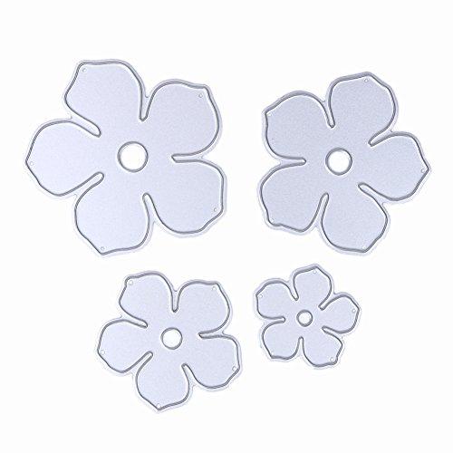 mikolotuk 4Metall Blumen DIY Formen die cut Schablone Deko Scrapbooking (5 Cm Anzahl Schablonen)