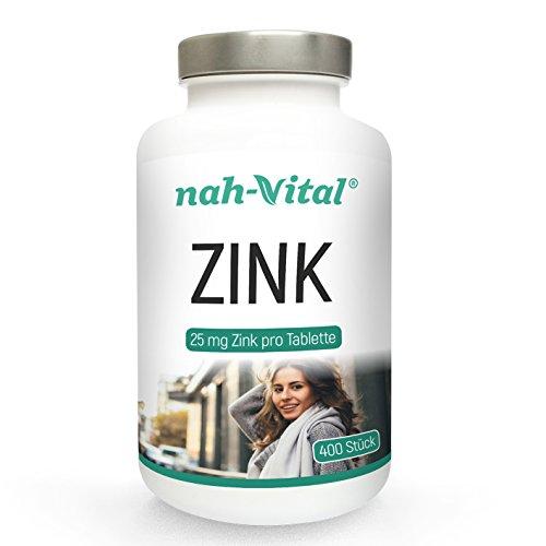 nah-vital Zink | 400 Tage | hochdosiert | 400 Tabletten mit je 25mg Zink | vegan, kristallzuckerfrei, laktosefrei | deutsche Premiumqualität
