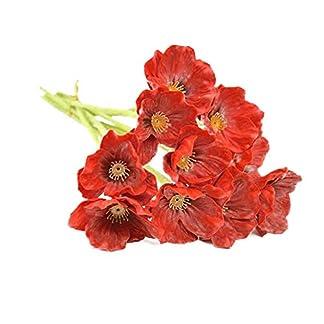 Jushi 1 Manojo / 10 Piezas de Las Amapolas Artificial Mini táctiles del Verdadero Amapolas Amapolas Flor Decorativa de simulación para la Boda del Partido 8.7″