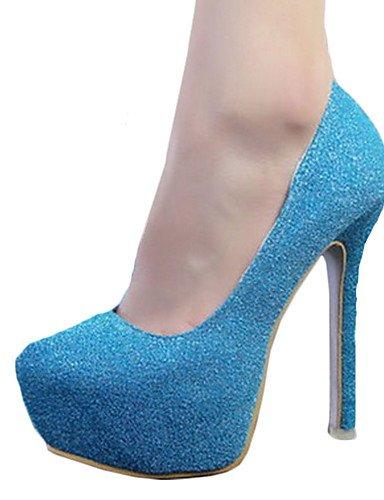 WSS 2016 Chaussures Femme-Soirée & Evénement-Noir / Bleu / Rose / Argent / Or / Kaki / Corail-Talon Aiguille-Talons-Talons-Similicuir blue-us5.5 / eu36 / uk3.5 / cn35