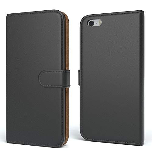 EAZY CASE Tasche für Apple iPhone 5 / 5S / SE Schutzhülle mit Standfunktion Klapphülle im Bookstyle, Handytasche Handyhülle Flip Cover mit Magnetverschluss und Kartenfach, Kunstleder, Schwarz (Apple 5s Mobiltelefon)