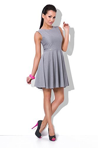 Futuro Fashion Schön Einfarbig Damen Smart Skaterkleid U-boot-ausschnitt Ärmellos Abend Mode 8-16 GB FJ01 Aschgrau