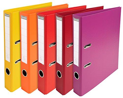 Exacompta 53054E Premium Kunststoff-Ordner (PVC, 2 Ringe, Rücken 50 mm, DIN A4) 10 Stück Farbkombination - 7
