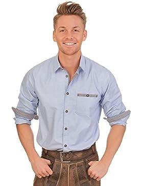 Trachtenhemd mit langem Arm - ECKART - blau, grau