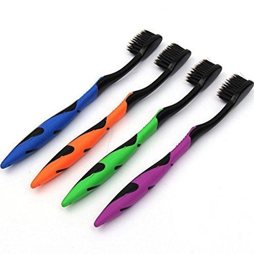 4pcs Ultra weiche Bambusholzkohle Zahnbürste Reinigung Zähne Zahnbürsten Zahnpflege Griff Holzkohle Borsten Zahnbürste für Zahnaufhellung für Kinder