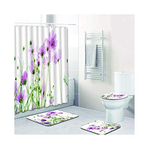 SonMo 4-Teiliges Duschvorleger Toilettenabdeung WC Vorleger Badmatte Polyester Anti-Bakteriell...