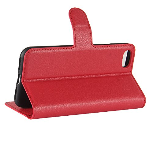 AVIDET iPhone 8 / iPhone8 Hülle - Hochwertiges PU Ledertasche im Bookstyle with Kickstand Card Holder für iPhone 8 / iPhone8 (Schwarz) Rot