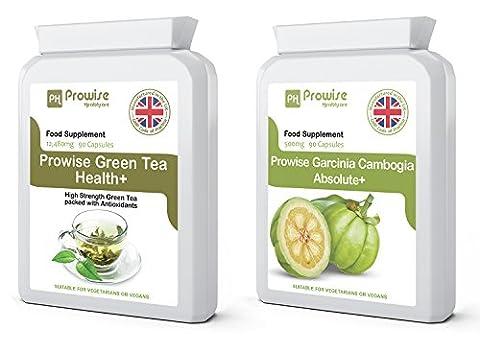 Thé vert + Garcinia Cambogia 500mg 90 capsules de perte