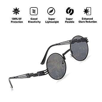 3afcafe21b01 ATNKE John Lennon Glasses Quavo Steampunk Round Sunglasses Circle Metal  Frame Oversized Retro Vintage Spring Leg