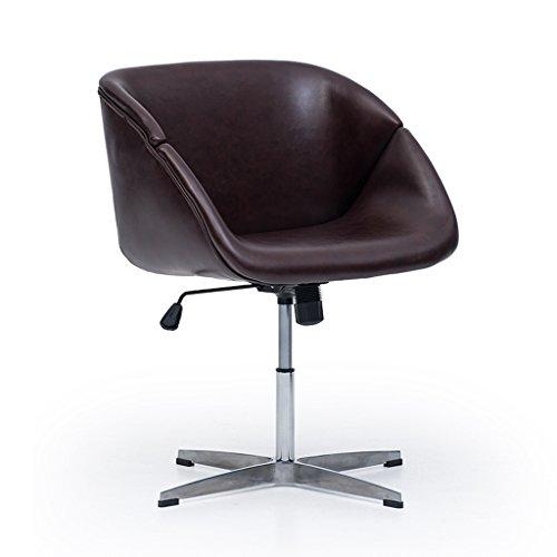 C&S CS Einfache Art-Rückenlehne-Armlehne-Computer-Stuhl-Büro-drehbarer anhebender Schemel-Haushalts-Freizeit-Stuhl-Aluminiumlegierung-Schemel-Fuß (Color : Dark Brown) (Dark Hocker Brown-leder-bar)