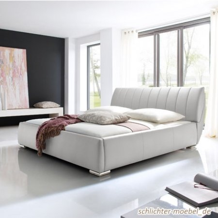 """Meise Möbel Polsterbett """"BERN"""" inkl. Lattenroste und Bettkasten (Weiß, 200 x 200 cm)"""