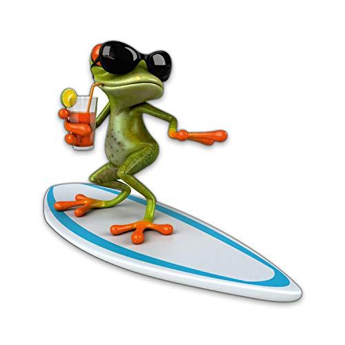 Sticker Surfer Frosch XXL I 100 cm I Fun-Aufkleber für Badezimmer Wohnwagen Wohnmobil Bulli als Auto-Aufkleber I lustig cool wetterfest I kfz_332