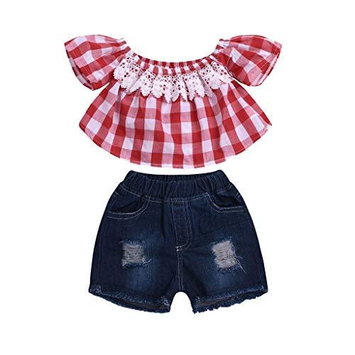 ingestellt,Kinder Baby Mädchen Schulterfrei Spitze Plaid Drucken Tops Freizeit Kaputt Loch Denim Shorts Outfits 2Pcs(Rot,12-18 Monate/90) ()