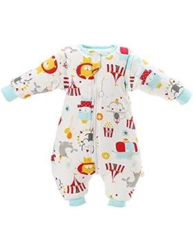 Baby Schlafsack mit Beinen warm gefüttert Winter Langarm Winterschlafsack mit Fuß 3,5 Tog
