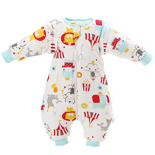 Baby Schlafsack mit Beinen warm gefüttert Winter Langarm Winterschlafsack mit Fuß 3,5 Tog (L/Körpergröße 85cm-95cm, Rot)