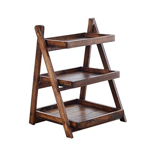 étui cosmétique Rétro bois Table pliante Rack de stockage multifonction maquillage étagère à bijoux Grande capacité Commodity étagère fleur Rack