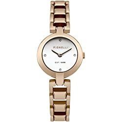 Fiorelli Women's Quartz Watch with White Dial Analogue Display and Rose Gold Metal Bracelet FO033RGM