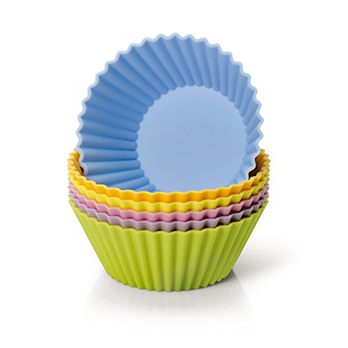 Kaiser Silikon Muffinform-Set, 6-teilig, Creativ, Silikonbackform, antihaftbeschichtet, ideal für Muffins, Cupcakes, Kekse, Schokolade, Eiswürfel, Pudding und Eiscreme, farbig, Ø 7 cm