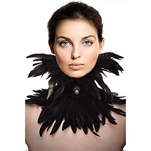 sigando Gothic Black Natürliche Feder Cape Umschlagtücher Schal Halsband Halloween - Saint Kostüm Für Erwachsene