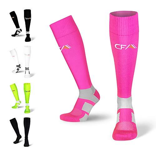 Hochwertige Kompressionsstrümpfe für Damen und Herren, Sprunggelenkschutz und Mittelfußstütze, flache Spitzennähte, für Laufen, Sport, Erholung, Blutzirkulation, Flug, Made in EU (Neon Pink, X-Large)