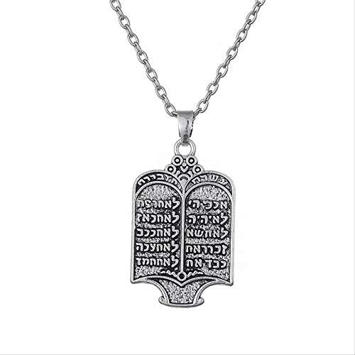 VAWAA Mens tibetischen Silberkette jüdischen Gravur Tora Scroll 10 Gebote Anhänger Halsketten ethnischen Schmuck