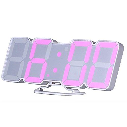 LED Digitaler wecker Drei Alarm 3D Uhr Sprachsteuerung Einstellung der Helligkeit des dritten Gangs Wand Stereo Wanduhr Mit Datum/Temperatur/Fernbedienung/115 LED-Anzeige Farbe für Kinder Büros Schlaf , Weiß