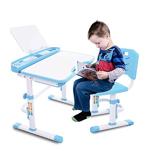 LARRY SHELL Kinder-Schreibtisch-Set, höhenverstellbar multifunktionale Kinder Studie Schreibtisch Workstation, robust und langlebig mit einfachen Anpassungen, für Zeichnen, Lesen oder Schreiben