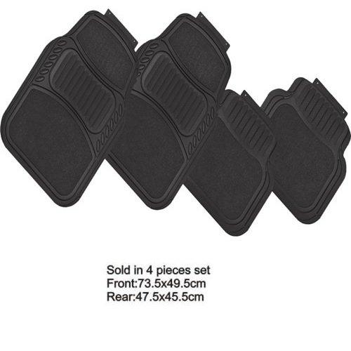 Fußmatten Auto-Fußmatten aus Gummi Teppich und PVC schwarz Matten Universal Komplettset von 4Stück 2vorne 2hinten waschbar Nicht individualisierte mit pretagli