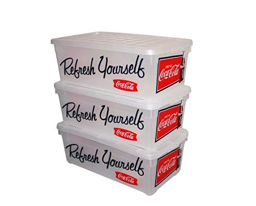 Curver 3er-Set stapelbare Aufbewahrungsboxen/Kisten/Stapelboxen Plastik transparenter Deckel 5,7 L