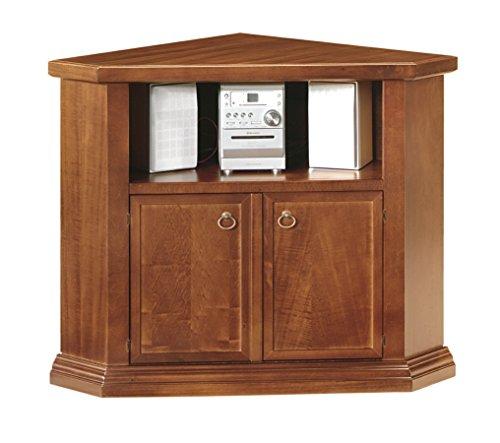 Lo scrigno arredamenti, porta tv arte povera ad angolo 2 porte tinta noce w376/n