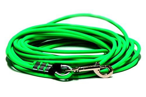 Schleppleine aus 6 mm runder BioThane® / 1-30 Meter [5m] / 17 Farben [Neon-Grün] / ohne Handschlaufe -