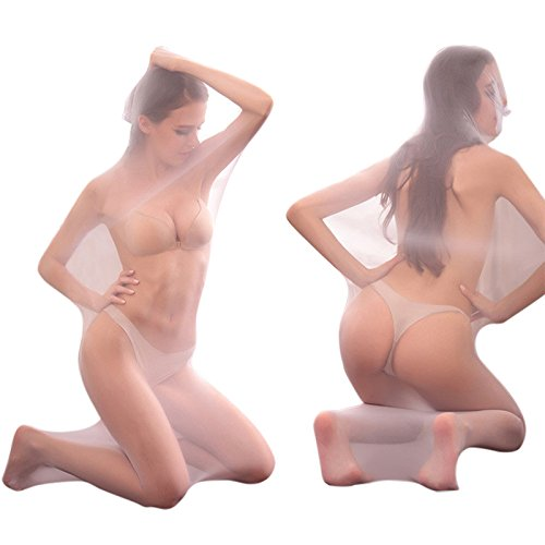 iBaste Transparente Ganzkörper Strumpfhosen Grid Dessous Masche Body Stocking Tasche Unisex Hautfarbe