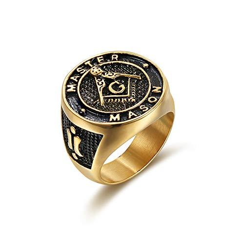 e Ringe Titan Stahl AG-Logo Band Ring Punk Rock Hochzeit Verlobungsringe (Gold, 9) ()