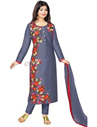 AnK Festival Special Offer light Blue Embroidered Cotton semi stitched Salwar Kameez With Dupatta