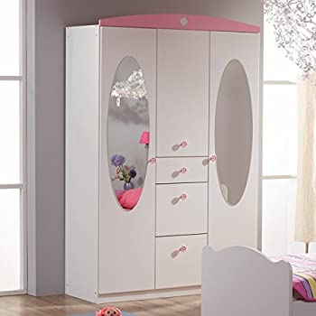 kleiderschrank wei rosa 3 t ren b 136 cm m dchen. Black Bedroom Furniture Sets. Home Design Ideas