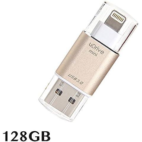 Memoria USB para iPhone y iPad [USB 3.0] [certificado Apple MFi], memoria USB portátil con conector lightning (128 GB)