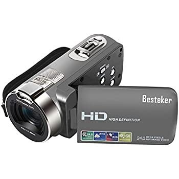 """Besteker Camera Camcorders, HD 1080P 24MP 16X Digital Zoom Video Camcorder with 2.7"""" LCD and 270 Degree Rotation Screen"""