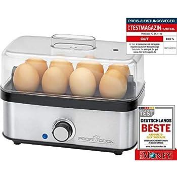 Eierkocher im Edelstahldesign für 1-7 Eier Kocher mit Messbecher und Eierpieker