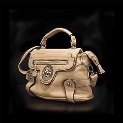 Incutex Damentasche im Kunstleder-Look mit Handschlaufen und Schulterriemen, beige