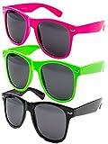 3 er Set EL-Sunprotect® Nerdbrille Brille Nerd Sonnenbrille Hornbrille Way Pink Grün Schwarz