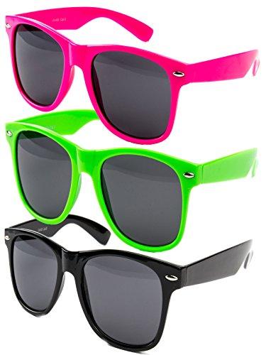 Ciffre 3 er Set EL-Sunprotect® Nerdbrille Brille Nerd Sonnenbrille Hornbrille Way Pink Grün Schwarz