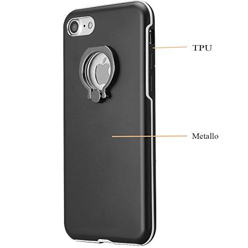 SKYLET iPhone 7 Coperchio , Goccia Protezione Custodia Protezione duro posteriore con Ring Stand Holder PC Case per iPhone 7 Rosa Oro Nero