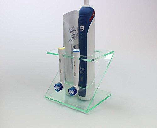 Halter für elektrische Zahnbürste und zwei Bürstenköpfe (verschiedene Farben) Light Green Tint