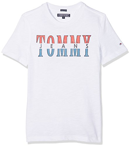 Tommy hilfiger essential tommy jeans graphic tee s/s, t-shirt bambino, bianco (bright white 123), 140 (taglia produttore: 10)