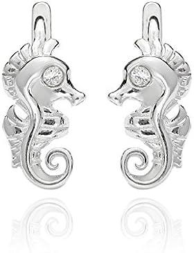 butterfly Mädchen Silber-Ohrringe Silber farblos Swarovski Elements original Seepferdchen Satin-Beutel, Geschenk...