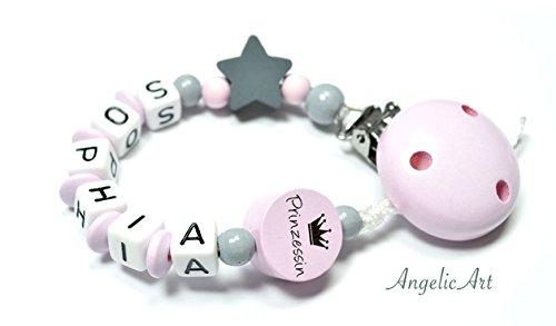 Baby Schnullerkette mit Wunschnamen - Junge - Mädchen - Fuchs - Bär - Füßchen - Wolke - Herz - Stern (Schnullerkette mit Namen - rosa - Prinzessin)