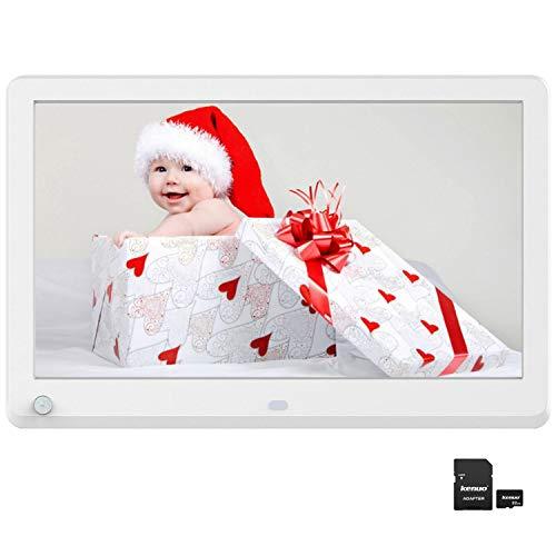 Digitaler Bilderrahmen, Elektronischer Fotorahmen 12 Zoll 1920 * 1080 HD IPS Display mit Bewegungssensor Kalender/Alarm/Foto/Musik/Video Player/automatisch drehen/Auto on/Off Timer mit 32GB SD, Weiß