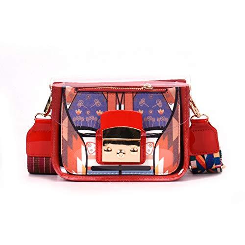 Klar Gesteppte pu Leder Kette Armband Tote Schulter Handtasche für Frauen-Rot 17x7x13cm(7x3x5inch) - Armband-handle-handtasche